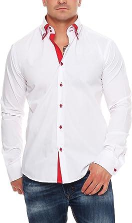 Hombre – Camisa Manga Larga Entallada Cuello de 2 clásico 2 Botón Slim Fit