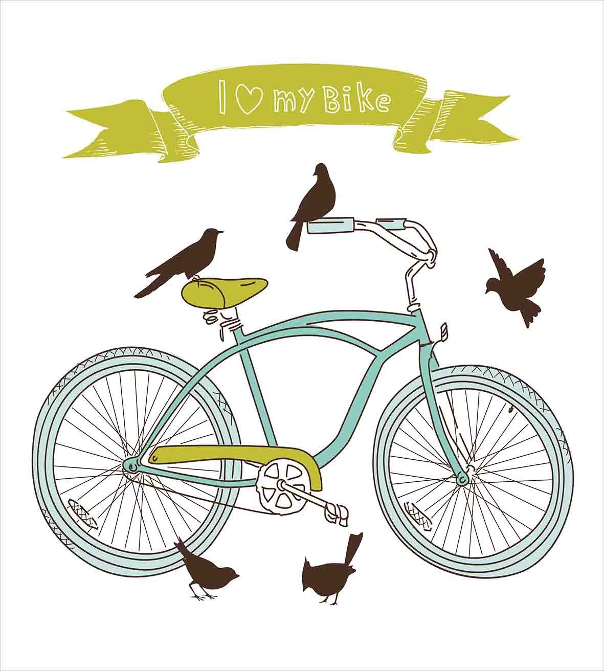 Bicycle Duvet Cover Set King Size by Ambesonne, I Love My Bike Concept with Birds on the Seat Cruisers Basic Vehicle Simplistic Art, Decorative 3 Piece Bedding Set with 2 Pillow Shams, Green Blue by Ambesonne (Image #2)