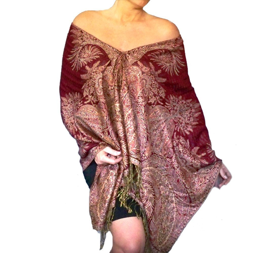 Plus Size Red Shawl Cream Paisley Scarf Wrap By ZiiCi