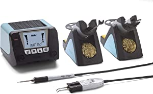 Weller WT2021MS 2-Channel Digital Soldering Station, 150 W, with 40 W Microsoldering Iron & 80 W Micro Desoldering Tweezers