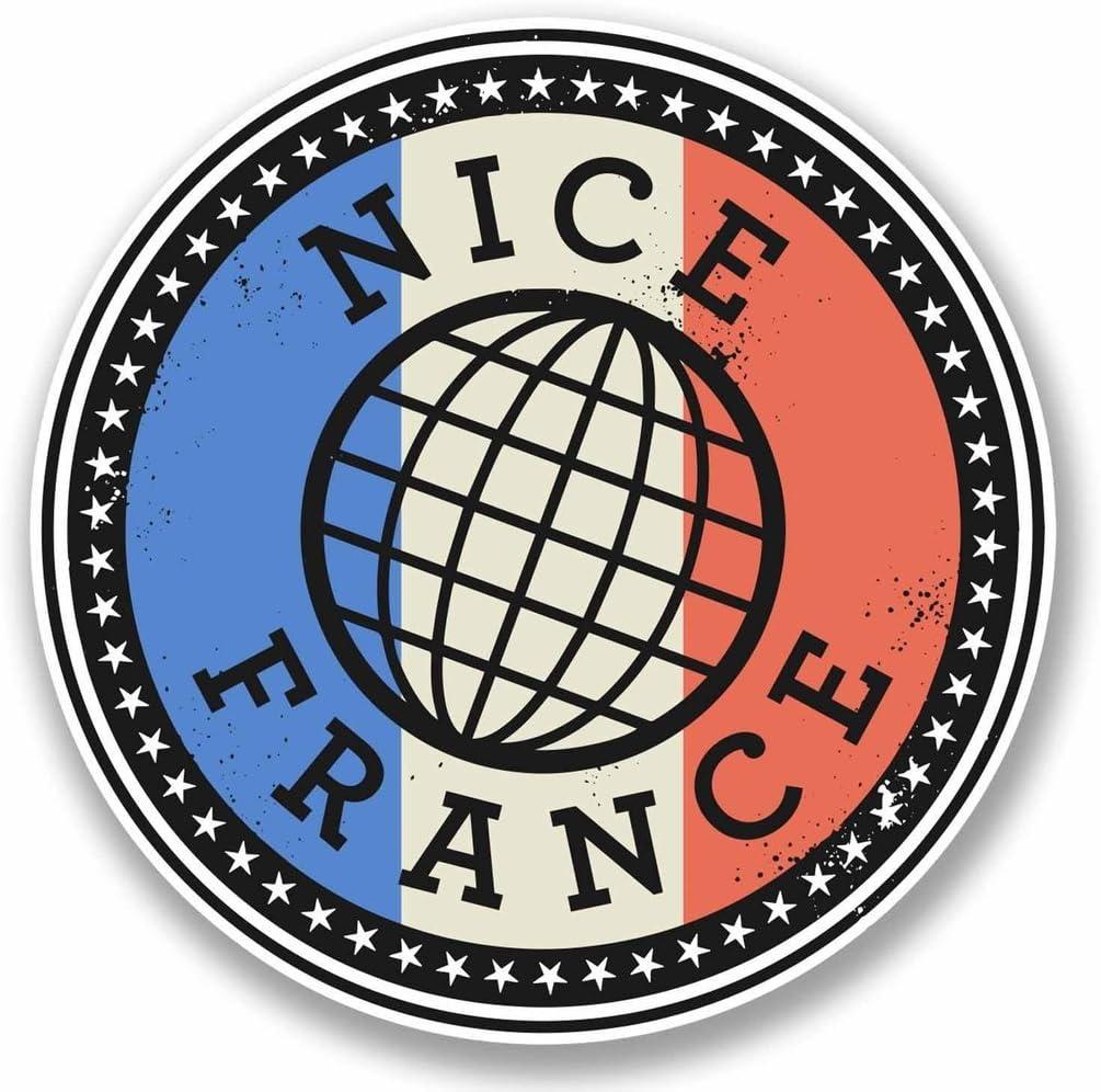 2 x 10cm/100mm Nice France Vinyl Sticker Decal Laptop Car Travel Luggage Label Tag #9845