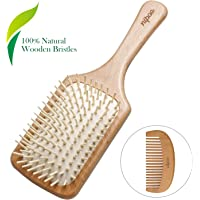 Nipoo Natural Wooden Paddle Detangling Hair Brush for Women, Men and Kids - Designed for All Hair Types - Wooden Comb…