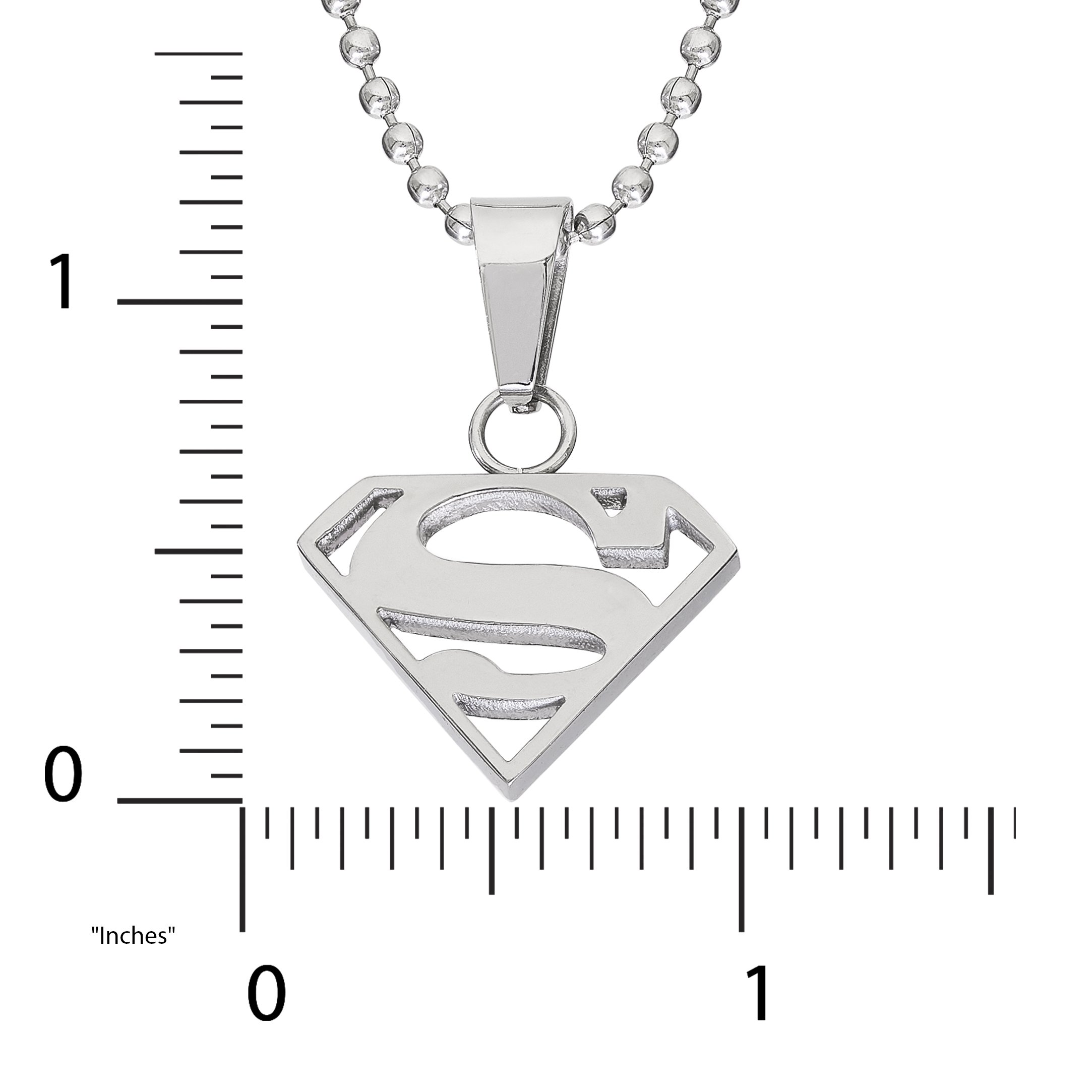DC Comics Jewelry Superman, Stainless Steel Cutout Logo Pendant, 16'' Ball Chain by DC Comics (Image #3)