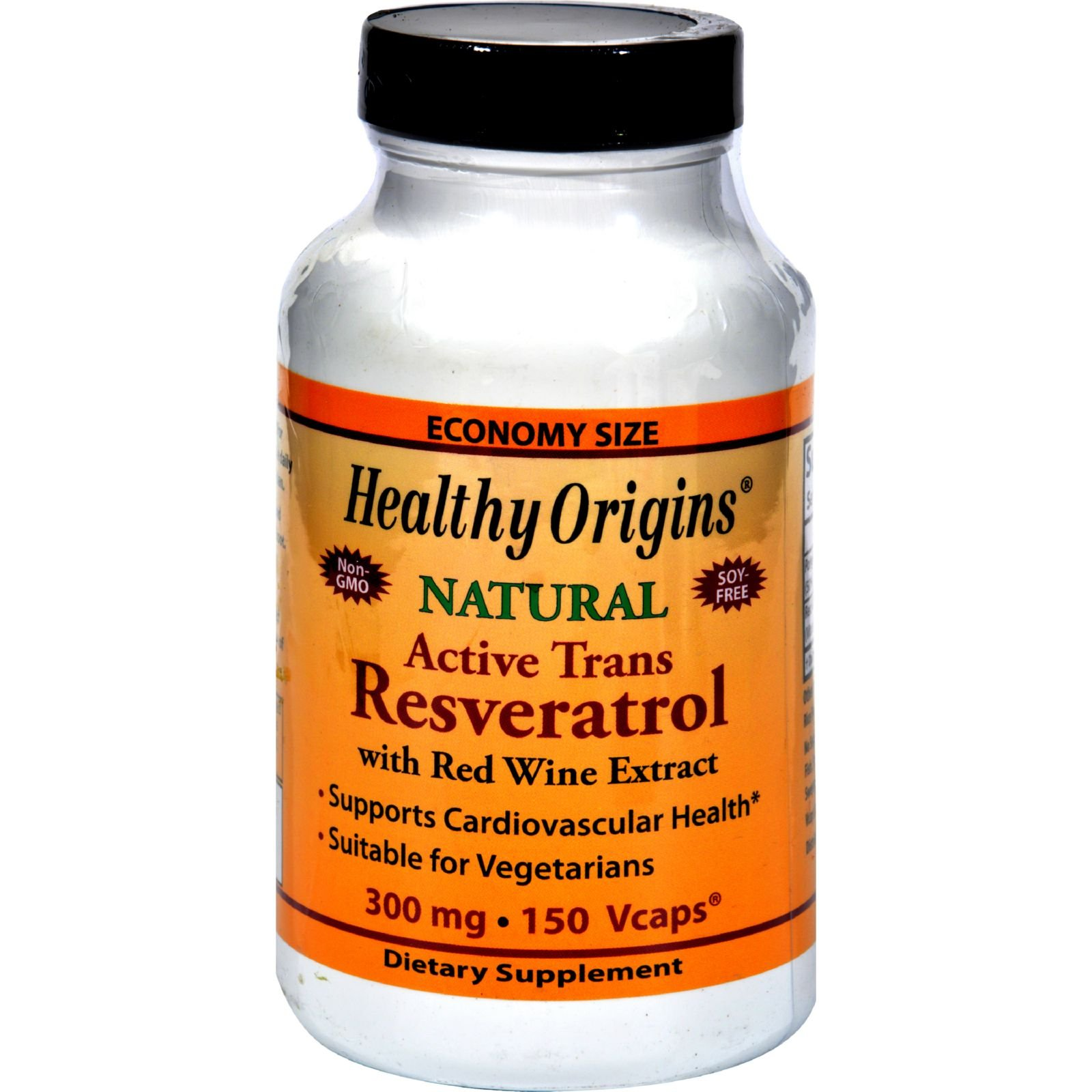 Healthy Origins Natural Resveratrol - 300 mg - 150 Vegetarian Capsules (Pack of 2)