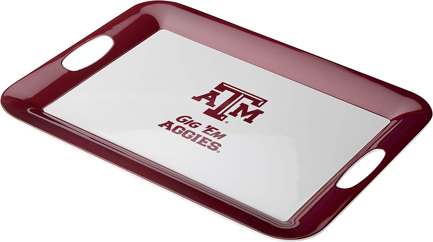 College Kitchen Collection Texas A&M University Serving Tray / Party Platter / Food Appetizer Serveware - 12.5 Inch, White
