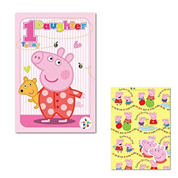 Peppa Pig Daughter 1st Birthday Card Gift Wrap Amazon Co Uk Toys