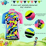 CH&Q Kids Cycling Jersey Set Boys Girls 218D Padded Shorts Cartoon Bike Short Sleeve