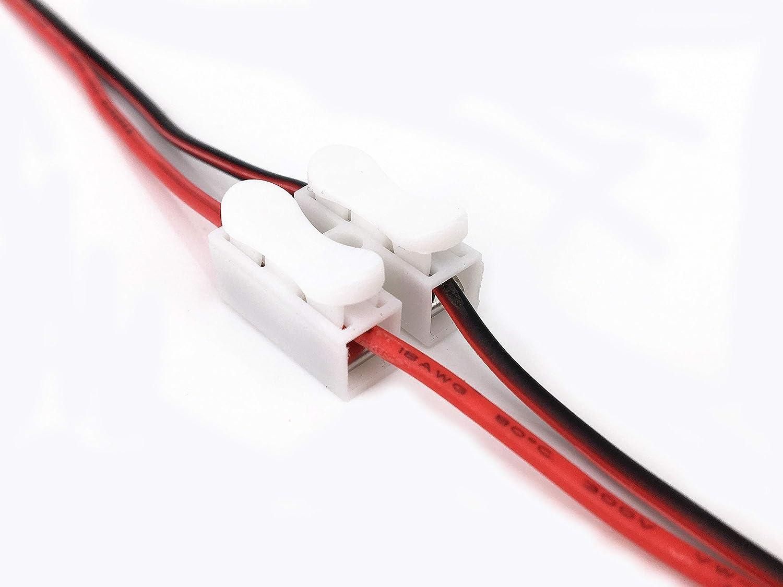 Klemmverbinder cables conectores Drahtklemmen Schnellanschlussklemme 50 piezas//pack blanco CH2 Federverbindungsst/ück la tira LED luz alambre conector 2 Pins cable conector