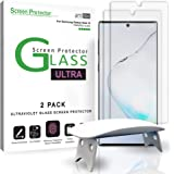 amFilm Ultra Glass Screen Protector for Galaxy Note 10 (2 Pack), Full Cover (Fingerprint Scanner Compatible) Tempered Glass Film with UV Gel Application for Samsung Galaxy Note 10 (2019)