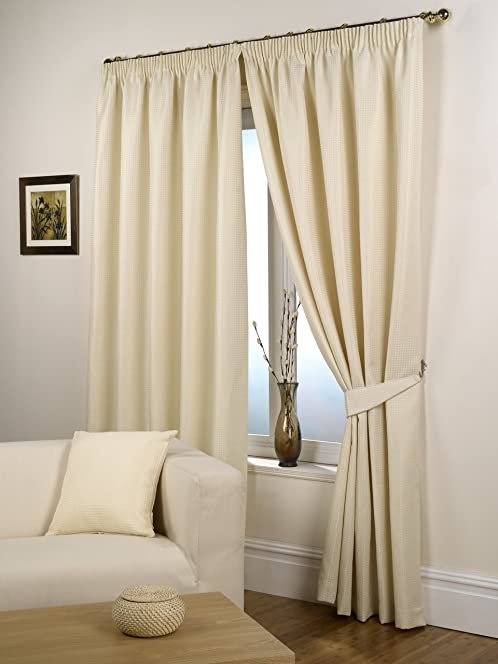 Impressions Waffle Natural Fully Lined Readymade Curtain Pair ...