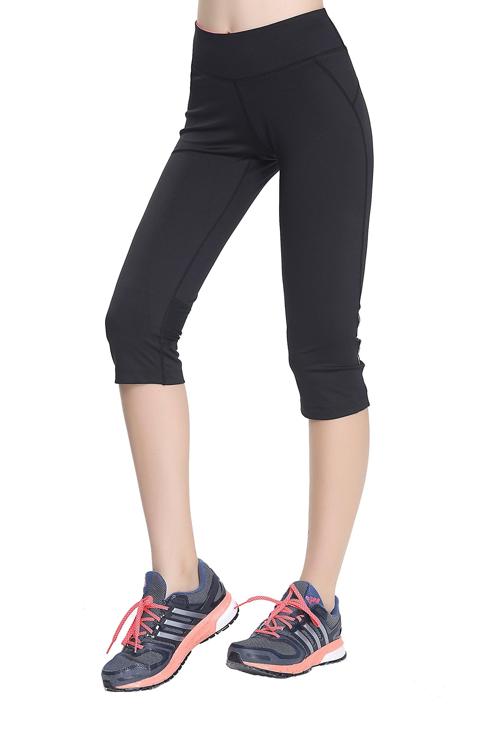 Women's Running Yoga Capris Leggings  Black Asian X-Large/US L