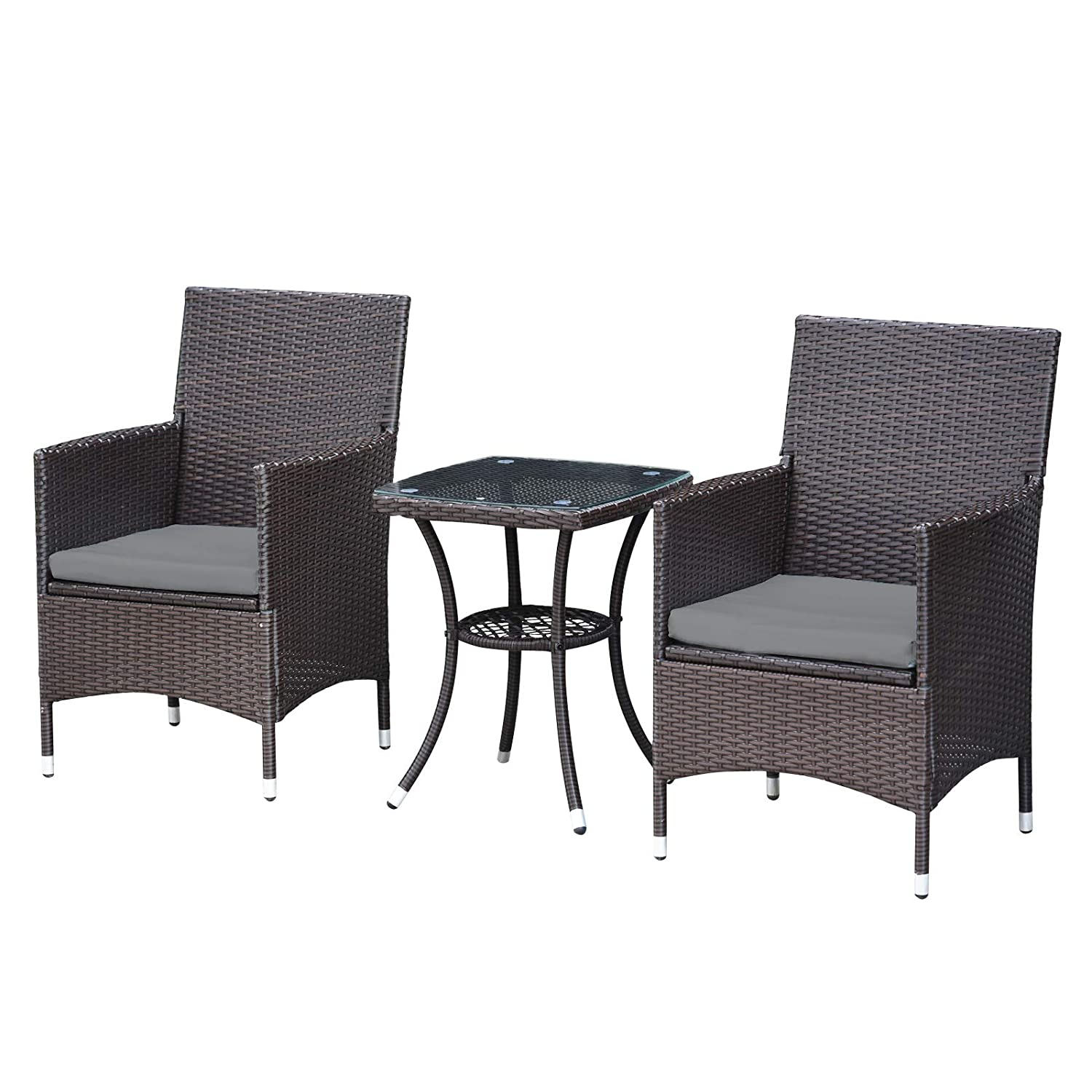 MCombo 3 Pieces Wicker Patio Set Outdoor Furniture Rattan Bistro Set Dining Chairs Porch Backyard Deck Brown Lawn Conversation Chair with Gray Cushion and Glass top Table 6081-DC03-BR