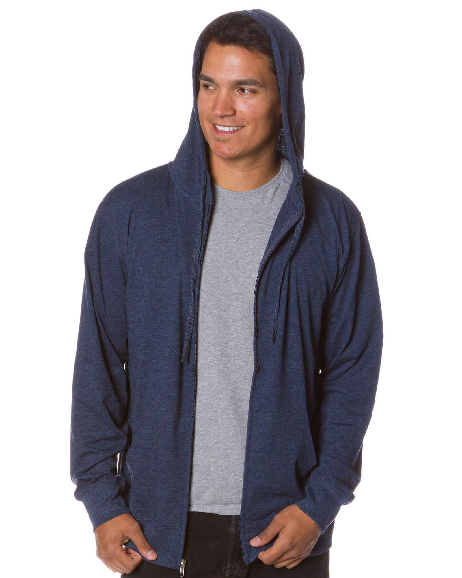 Global Men's Lightweight T-Shirt Jersey Full Zip Up Hoodie Sweatshirt M Navy Heather