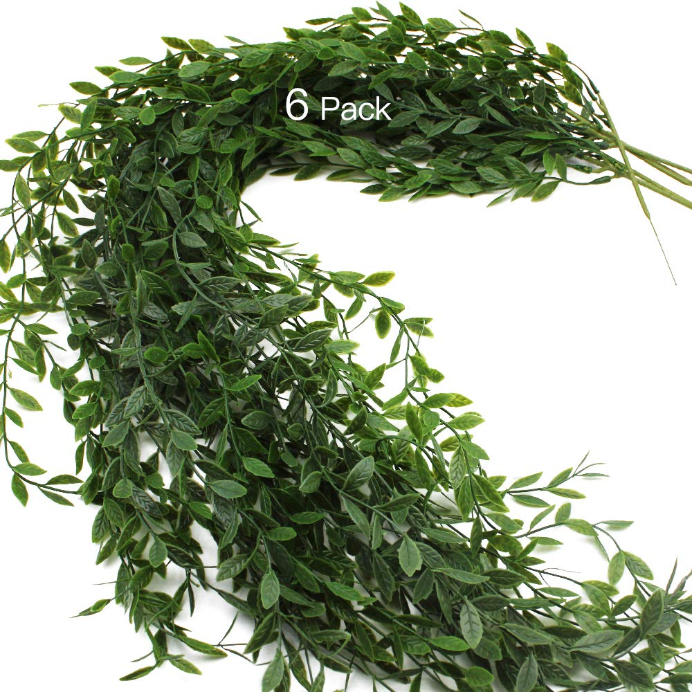 JaneYi 6 Pieces Artificial Ivy Garland Green Leaves Plastic Foliage Ivy Plant Fake Weeping Willow Vine Artificial Trailing Plant Hanging for Indoor Outside Garden Home Office Cafe Wall Trellis Decor