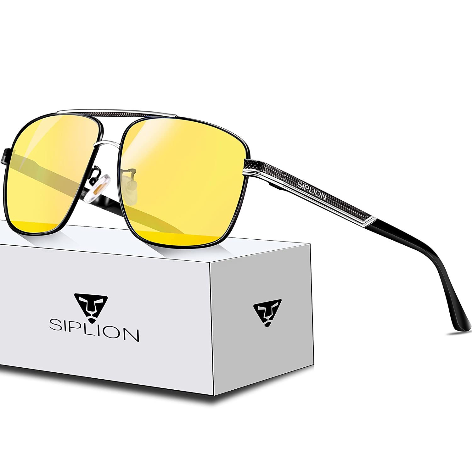 5c6b7739edc SIPLION Men s Driving Polarized Rectangular Square Sunglasses Metal Frame
