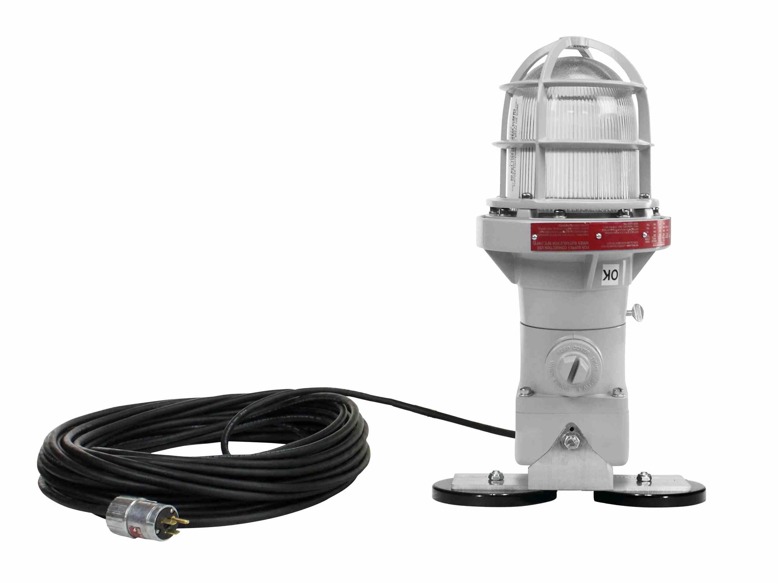 Larson Electronics 0515PT24PFS Adjustable Magnetic Mount Explosion Proof LED Strobe Light - 7W - 50' Cord - Exp Plug (120V-White-Steady Burn)