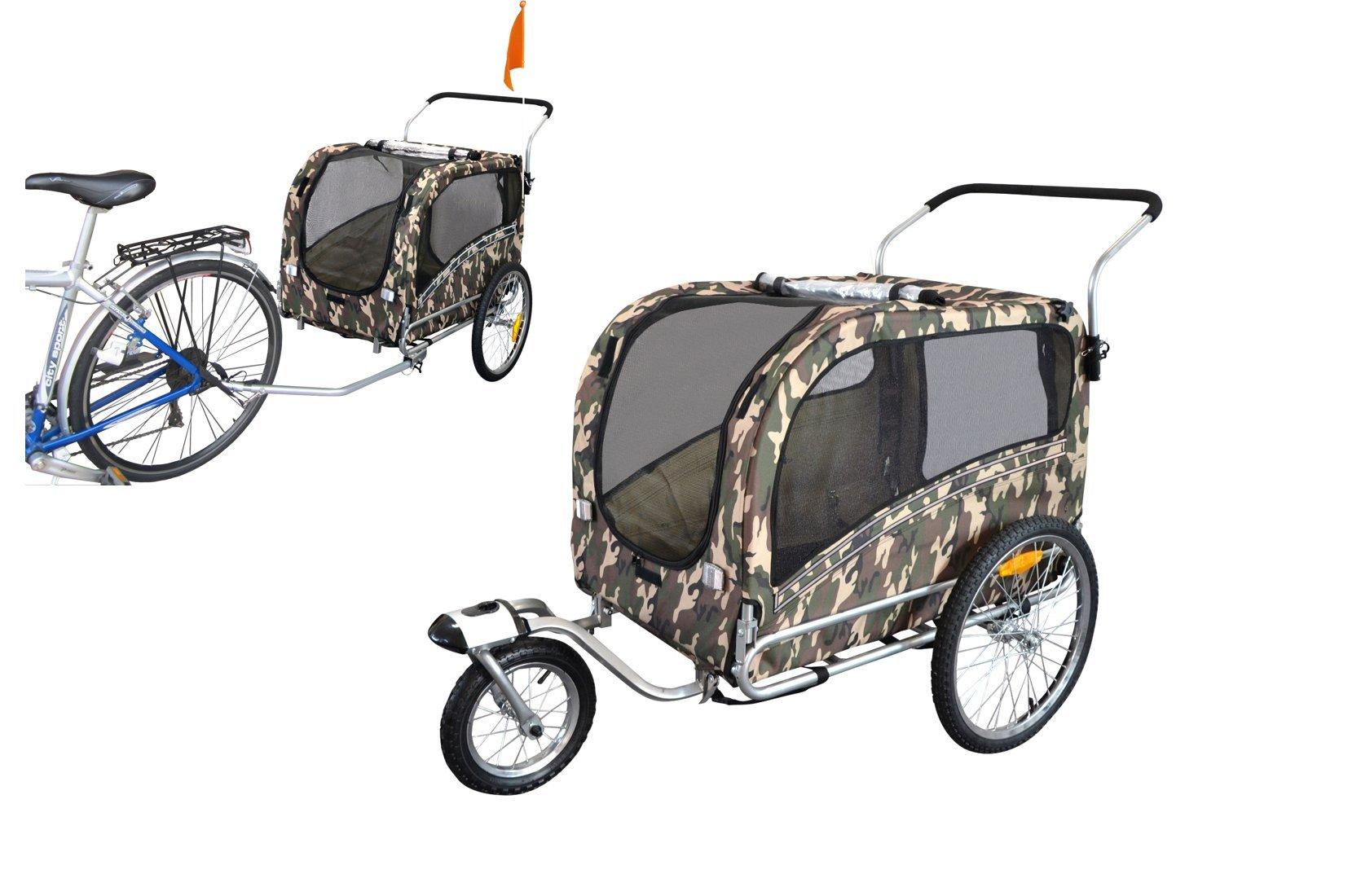 Polironeshop Argo - Remolque y carrito para bicicleta para el transporte de perros, camuflaje,