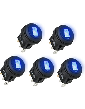 linkstyle car truck rv rocker round toggle led switch on-off control, 5pcs  waterproof
