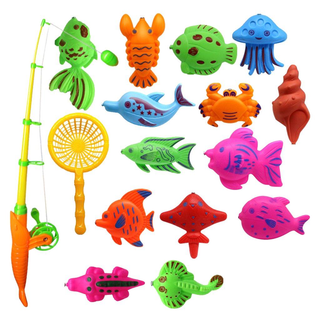 MonkeyJack 15Pcs Baby Bath Time Magnetic Fishing Toy Vivid Fish Model Set Kids Fish Toy Early Developmental
