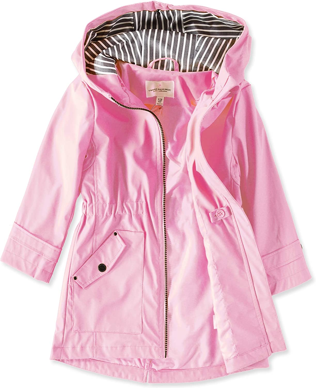 Urban Republic Girls Anorak Raincoat Water Resistant Hooded Rain Jacket
