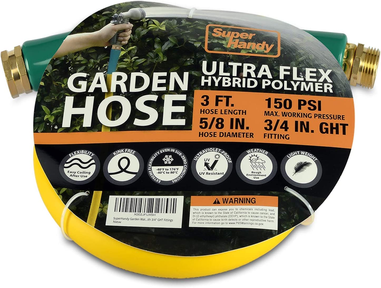 "SuperHandy Garden Lead-in Water Hose 5/8"" Inch x 3' Foot Heavy Duty Premium Commercial Ultra Flex Hybrid Polymer Inlet Hose Max Pressure 150 PSI/10 BAR with 3/4"" GHT Fittings"