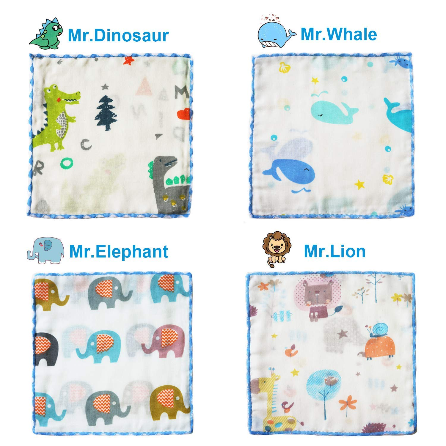 6 Pack Baby Washcloths 9x9 Inches Natural Muslin Cotton Newborn Baby Face Towel Perfect Shower Gifts Set Animal Party