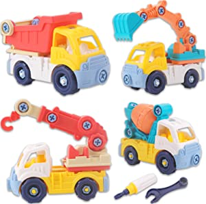 STEM Take Apart Construction Vehicle Toys for 3 4 5 Year Old Boys Girls | Digger Excavator, Crane, Cement, Dump Truck | Birthday Gift for Toddler Kids