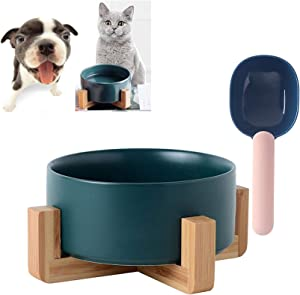 Hamiledyi Ceramic Small Dog Bowl with Wood Stand, Raised Cat Basic Bowl Feeder, No Spill No Tip Over Protect Neck Joints Pet Round Food Water Feeder 28 Ounces with Scoop