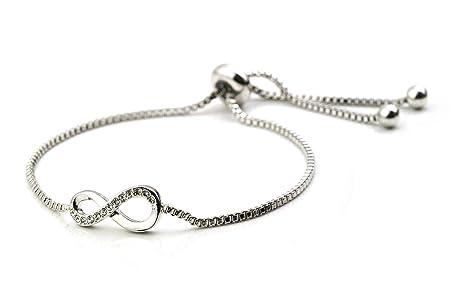 REAOK Forever Friendship Bracelet Rose Gold Plated Stainless Steel Gold Plated Infinity Charm Bracelet For Women 9.5 Inch WOVIB29Fz1