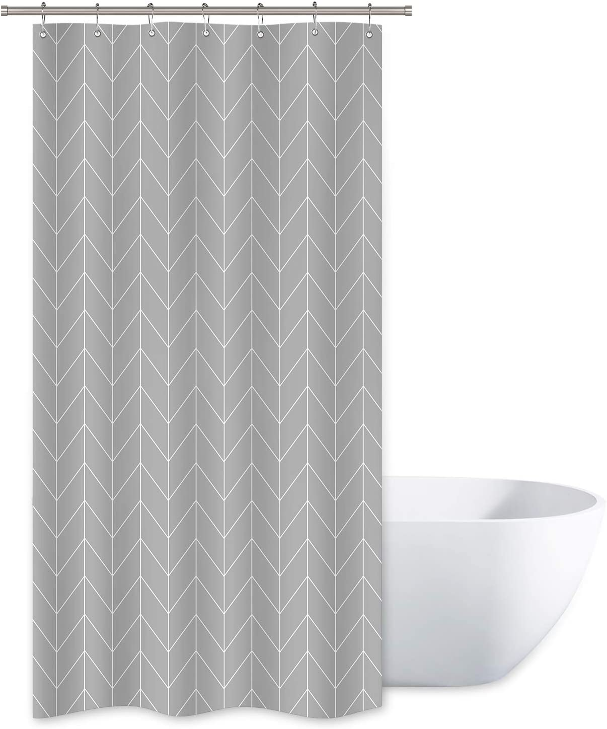 Riyidecor Striped Herringbone Chevron Shower Curtain Panel Grey Geometric Decor Fabric Bathroom Set Polyester Waterproof 36x72 Inch Plastic Hooks 7 Pack