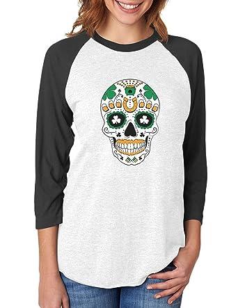 7899d9e45a7d6 St. Patrick s Day Irish Sugar Skull Clovers 3 4 Women Sleeve Raglan Shirt  Small