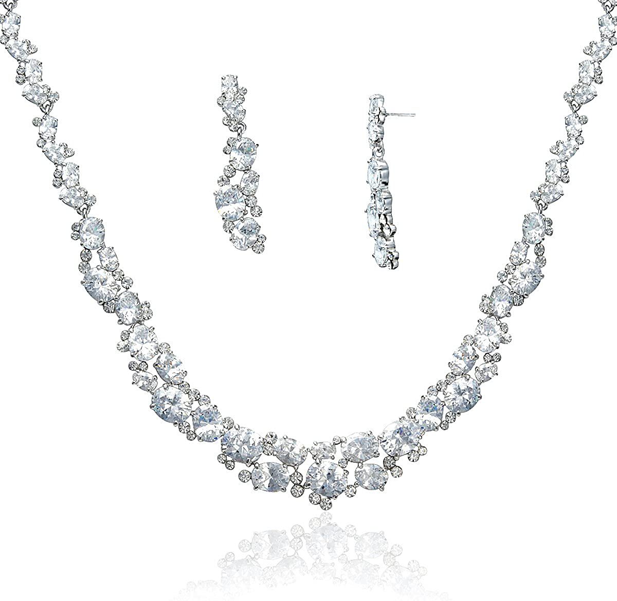 S01315CL Special Occasion Jewelry Set. Lia Newyork Cubic Zirconia Crystals Necklace and Earring Set