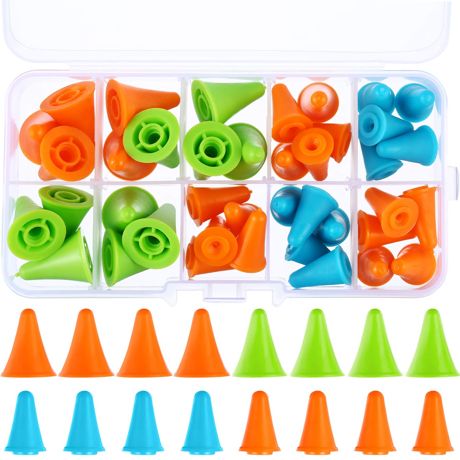 40 Pieces Multi-Colored Needle Point Stoppers Needle Point Protectors Needles Knitting Accessories with Plastic Storage Box, 2 Sizes Blulu