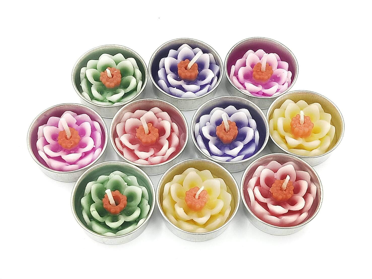 Jakapan Lotus Flower Candle in Tea Lights, Floating Candles, Scented Tea Lights, Aromatherapy Relax, Gift Set 10 Pcs