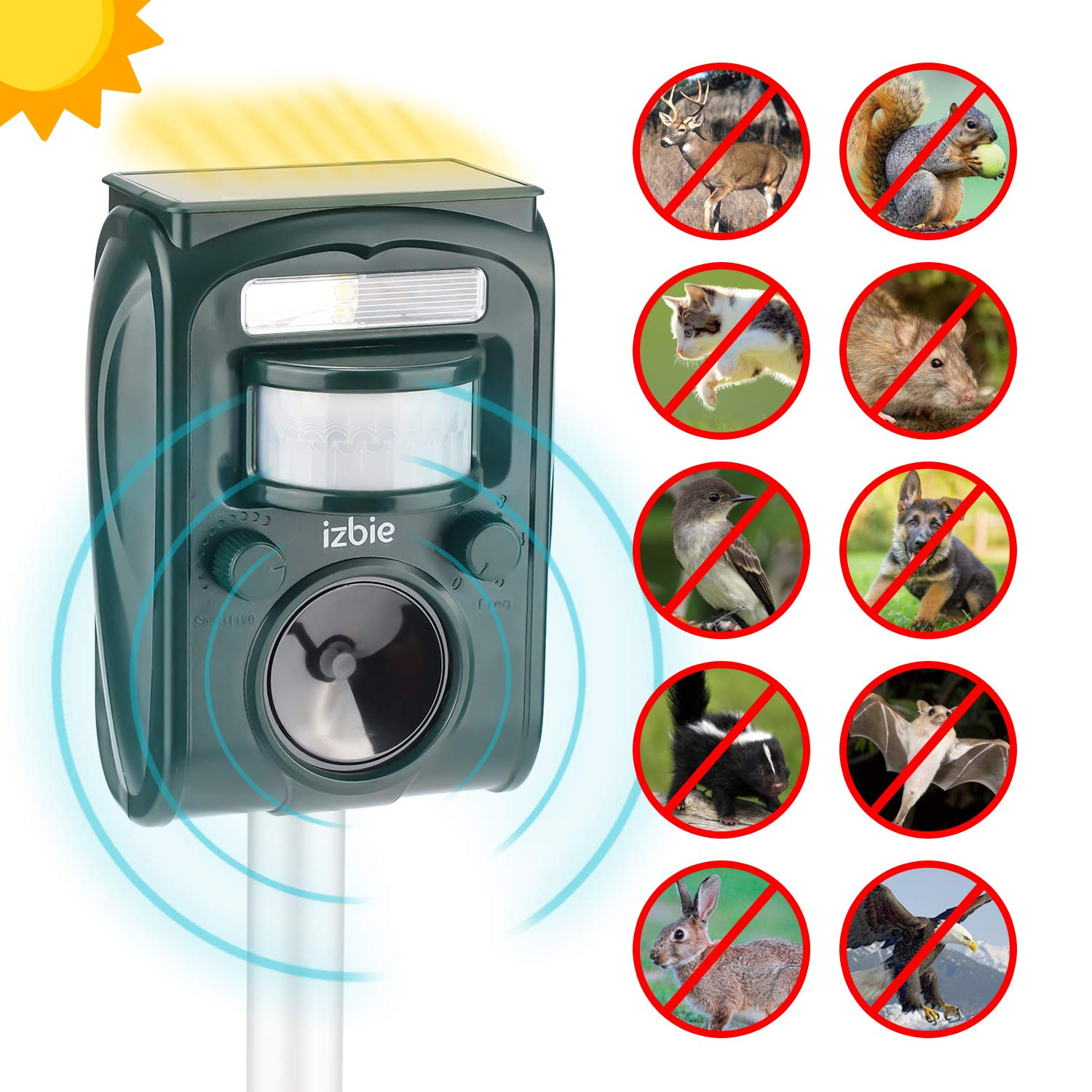 Izbie Ultrasonic Squirrel, Deer, Bird Repellent - Waterproof Effective Outdoor Electronic Deterrent for Rodent, Mouse, Cat, Dog, Snake, Raccoon, Mole, Pest Repeller Control by Izbie