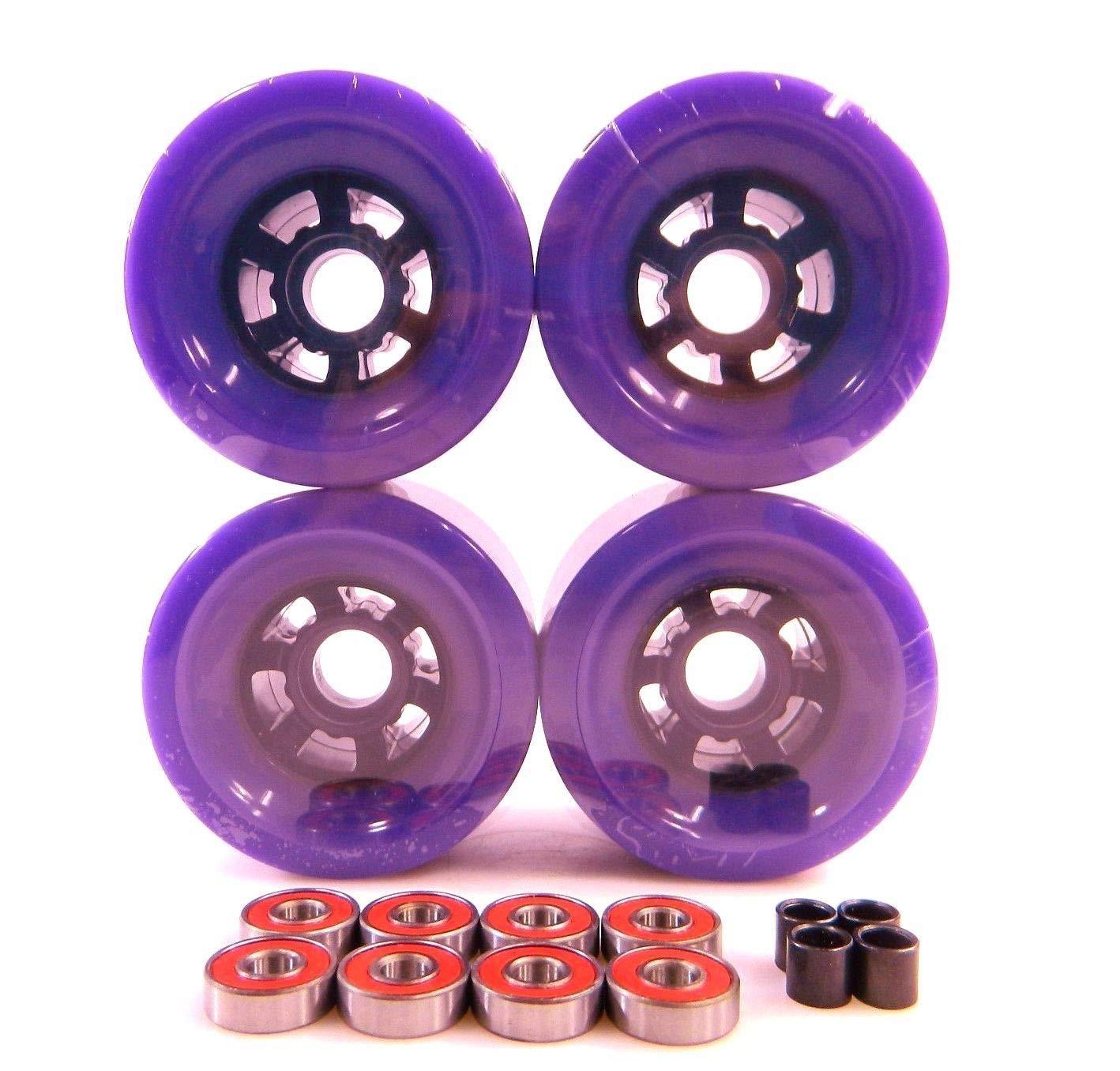 Purple Blank Pro 90Mm Multiple Color Longboard Flywheels + ABEC 7 Bearings + Spacers