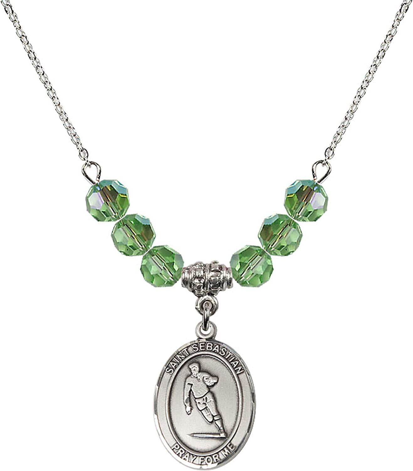 Bonyak Jewelry 18 Inch Rhodium Plated Necklace w// 6mm Green August Birth Month Stone Beads and Saint Sebastian//Rugby Charm