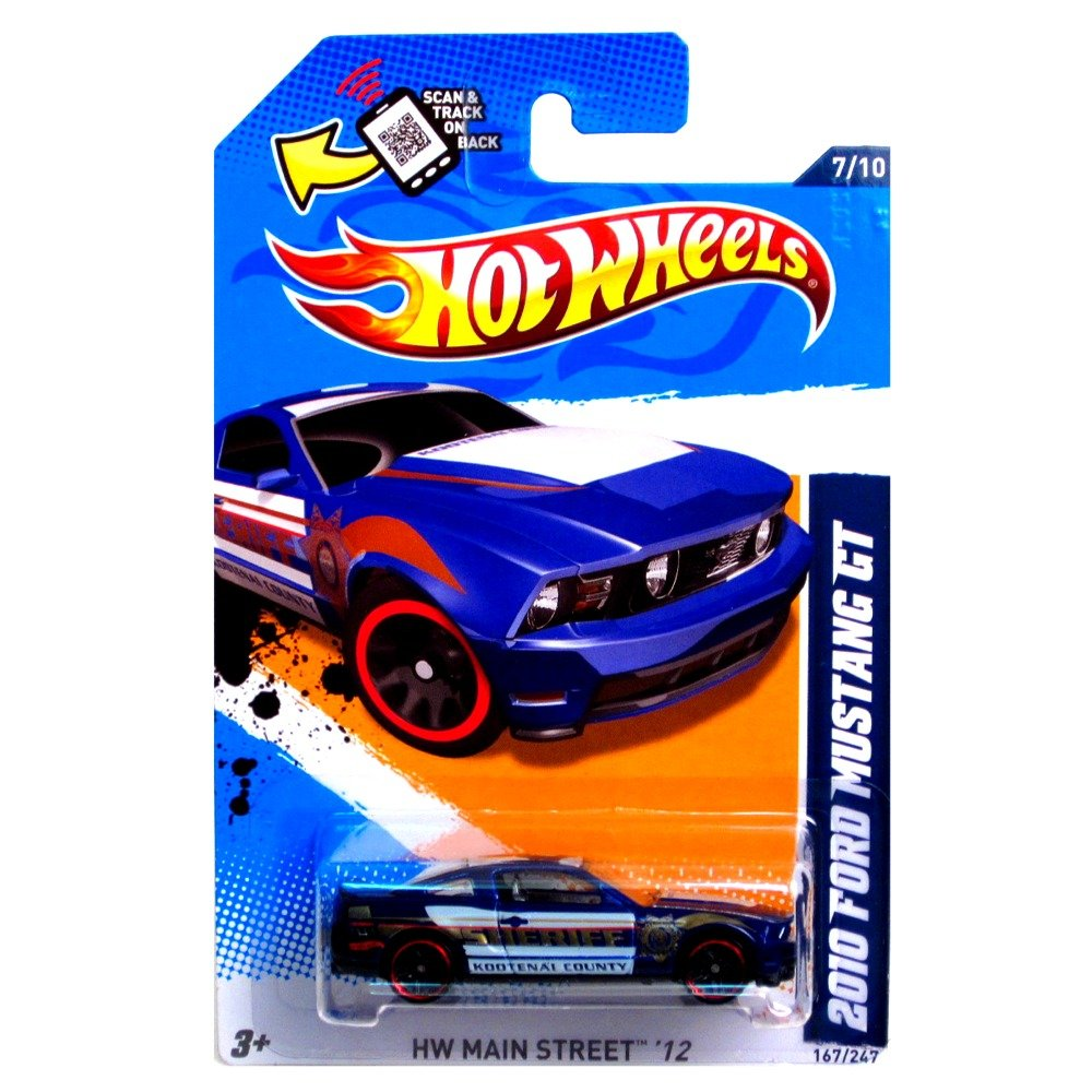 Amazon com hot wheels 2012 167 247 2010 ford mustang gt blue police car kootenai county toys games