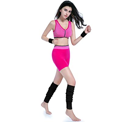 KIMBERLY S KNIT Women 80s Neon Pink Running Headband Wristbands Leg Warmers Set (Free, Black): Clothing