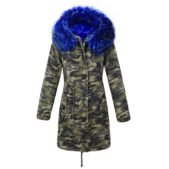 Echtfell Fuchsfell M Camouflage Winterjacke Jacke Luxus