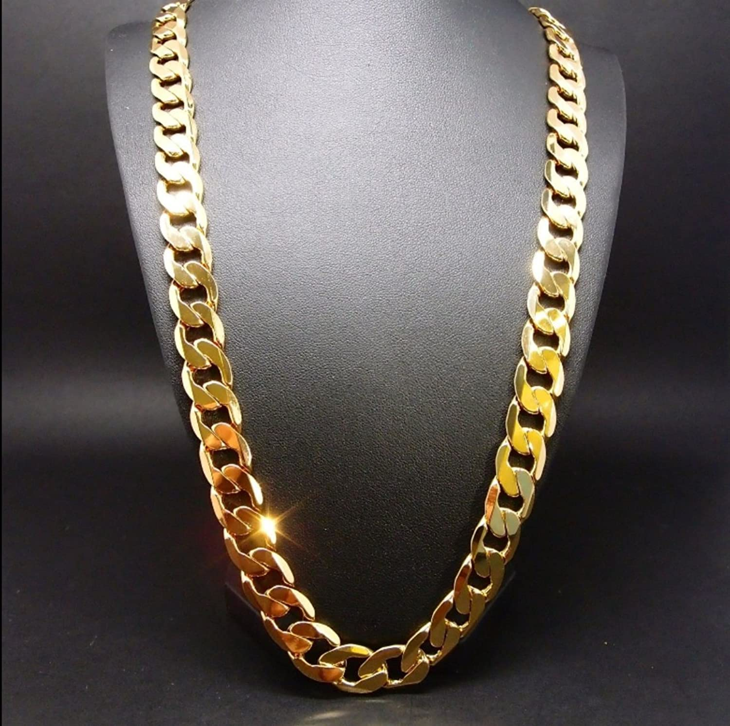 Gold chain necklace 9.1MM 24K Diamond cut Smooth Cuban Link with a ...
