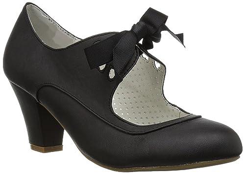 Pinup Couture Damen Mary Janes Pumps mit Schleife Wiggle 32 schwarz