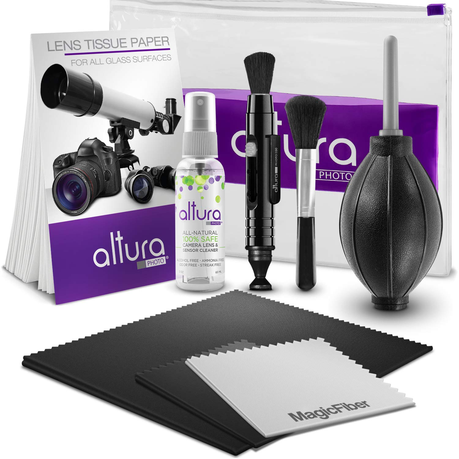 Altura Photo Professional Cleaning Kit for DSLR Cameras and Sensitive Electronics Bundle with Altura Photo 2oz All Natural Cleaning Solution by Altura Photo