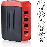 Travel Adapter Universal Adattatore Universale da Viaggio con 4 Porte USB per Più Dispositivi Multifunzione Adattatore Elettronico US EU UK AU Adattatore Circa 150 Paesi- Milool (Rosso)