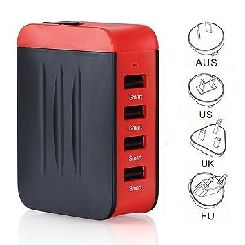 Adaptador Enchufe,Adaptador de viaje Universal de Viaje Cargador 4 Puertos USB para Más Dispositivos Adaptador Multifuncional para US EU UK AU acerca ...