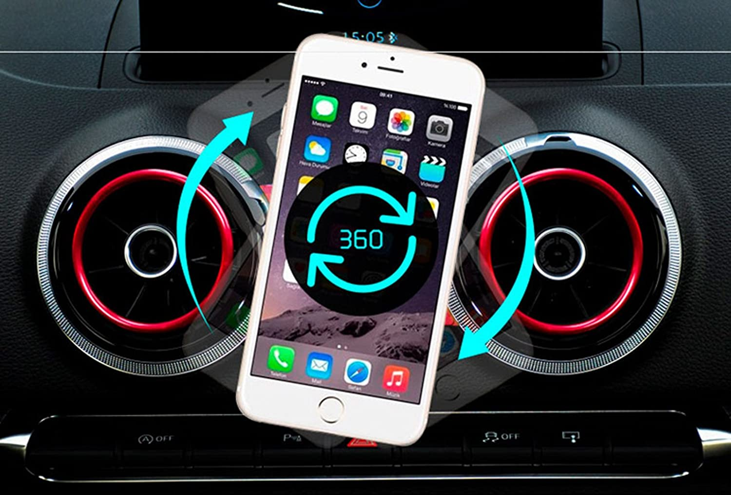 XBERSTAR Phone Holder Car Air Vent Outlet Mount 360-Degree Rotary Swivel Cell Phone Magnetic Cradle for Audi A3 S3 Blue