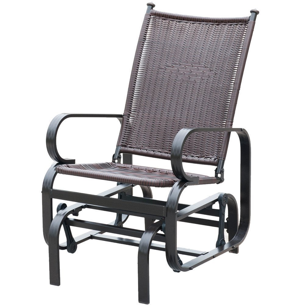 PatioPost Glider Chair Outdoor PE Wicker Patio Rocking Chair, Brown by PatioPost
