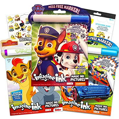 Imagine Ink Bundle Includes 3 No Mess Coloring Books ~ Paw Patrol, Race Cars, Minions with Stickers: Toys & Games