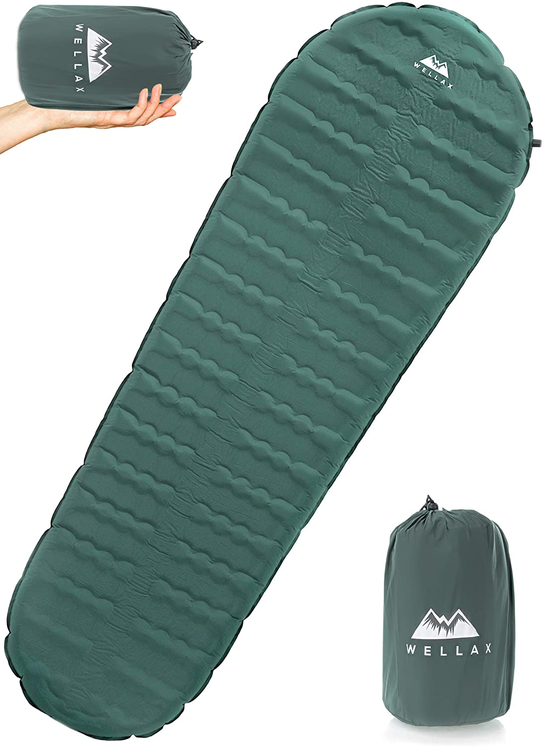 Regular - 70 x 20 x 2.5 inches Hybrid Camp Mattress with Foam Frame Best Inflatable Camping Mat for Backpacking Traveling and Hiking Hybrid Camp Mattress with Foam Frame Traveling and Hiking WELLAX Ultralight Self Inflating Sleeping Pad for Camping