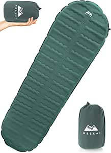 WellaX Ultralight Self Inflating Sleeping Pad for Camping - Best Inflatable Camping Mat for Backpacking, Traveling and Hiking - Hybrid Camp Mattress with Foam Frame (193, 61)